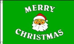 5ft x 3ft Polyester 100D Merry Christmas Green Father Christmas Flags Banners